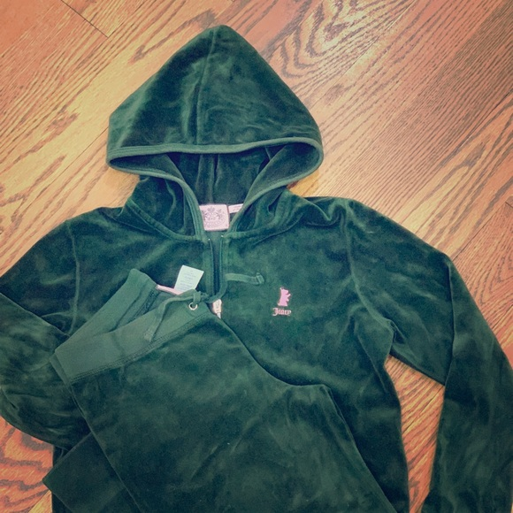 Juicy Couture Other - Juice Couture velour dark green hoodie set.